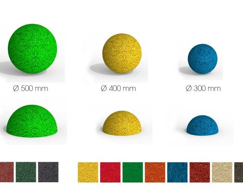 Rubber-granulate balls in different colors and sizes